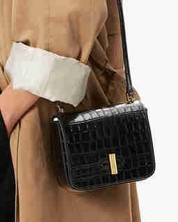 Czarna torebka na ramię Fedra Croco Mini