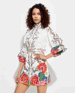 Lniana sukienka z kwiatowym nadrukiem