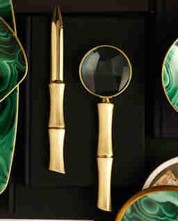 Pozłacane szkło powiększające Bambou