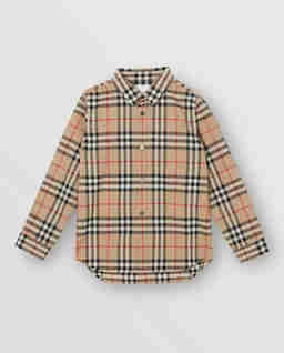 Beżowa koszula w kratę 3-12 lat