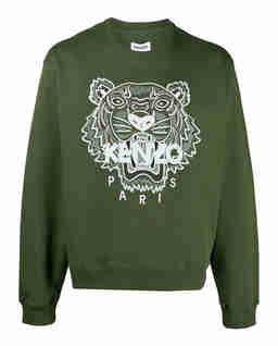 Zielona bluza z haftowanym tygrysem