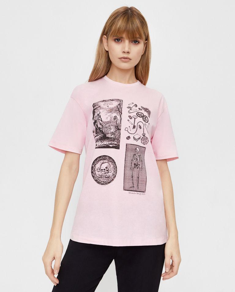 Różowy t-shirt z logo Alexander McQueen