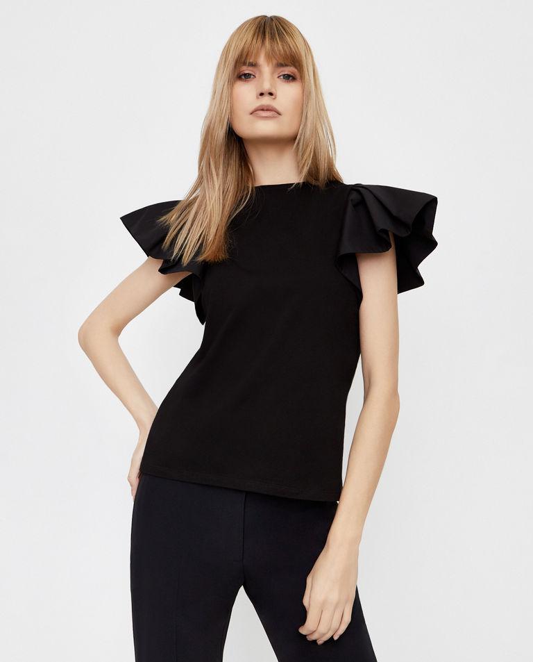 Czarna bluzka z falbanami Alexander McQueen
