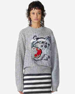 Szary sweter z głową geparda Kenzo x Kansai Yamamoto