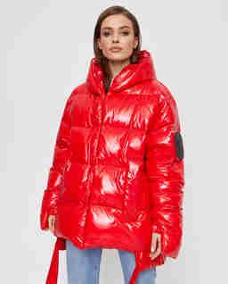 Czerwona kurtka puchowa z połyskiem Jesso