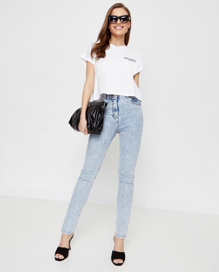 Biały krótki t-shirt Balmain
