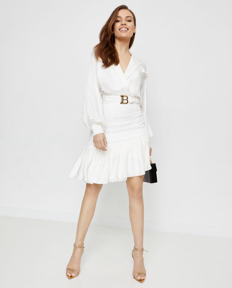 Biała sukienka z jedwabiu Balmain