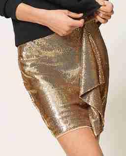 Złota cekinowa spódnica mini