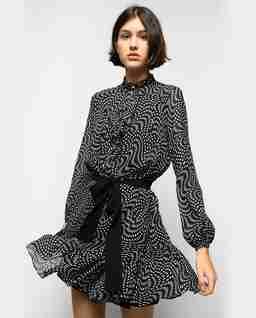 Mini sukienka z falbaną i wiązaniem Vigoroso