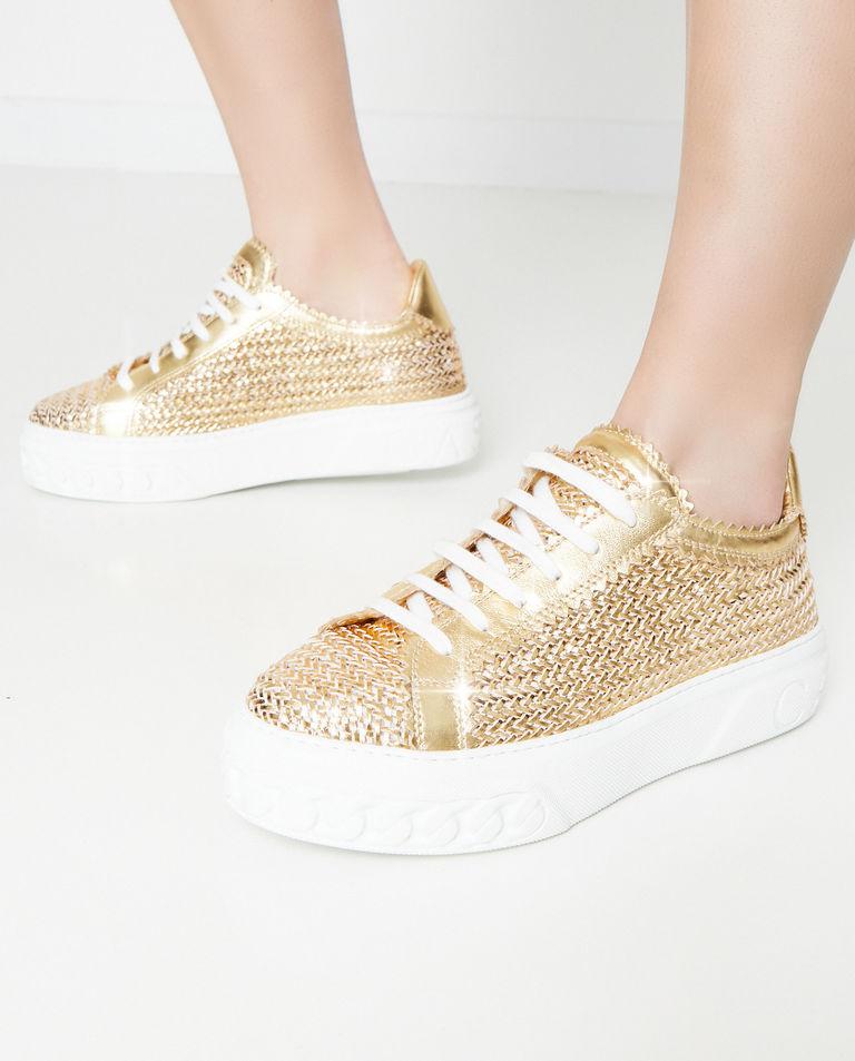Złote sneakersy Off Road Casadei