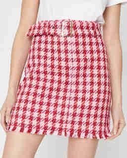 Różowa mini spódnica w pepitkę Accurato