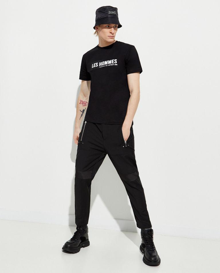 Czarny t-shirt z logo Les Hommes
