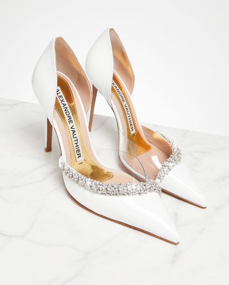 Białe szpilki Ane z kryształami Swarovskiego Alexandre Vauthier