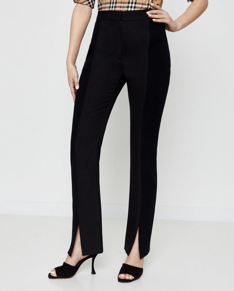Czarne spodnie z wełny Burberry