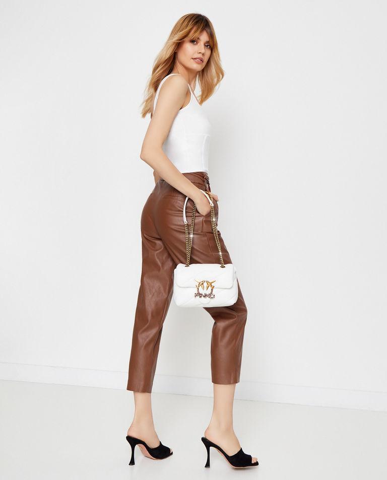 Biała torebka z błyszczącym logo Love Mini Puff Jawel