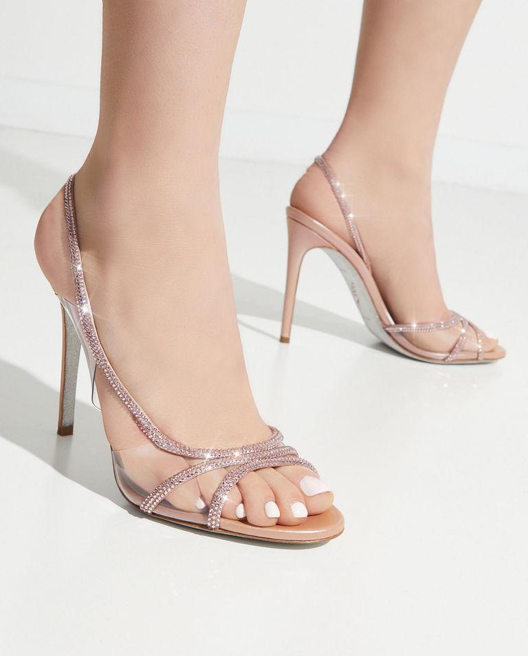 Różowe sandały na szpilce Rene Caovilla