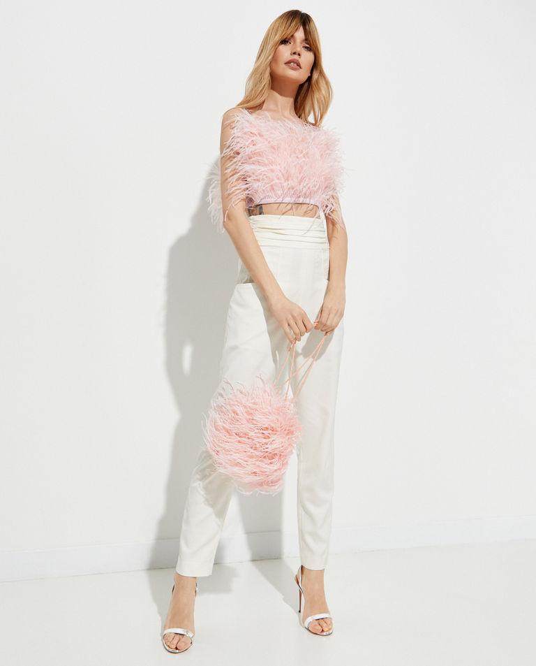 Różowa torebka ze strusich piór T-Dress