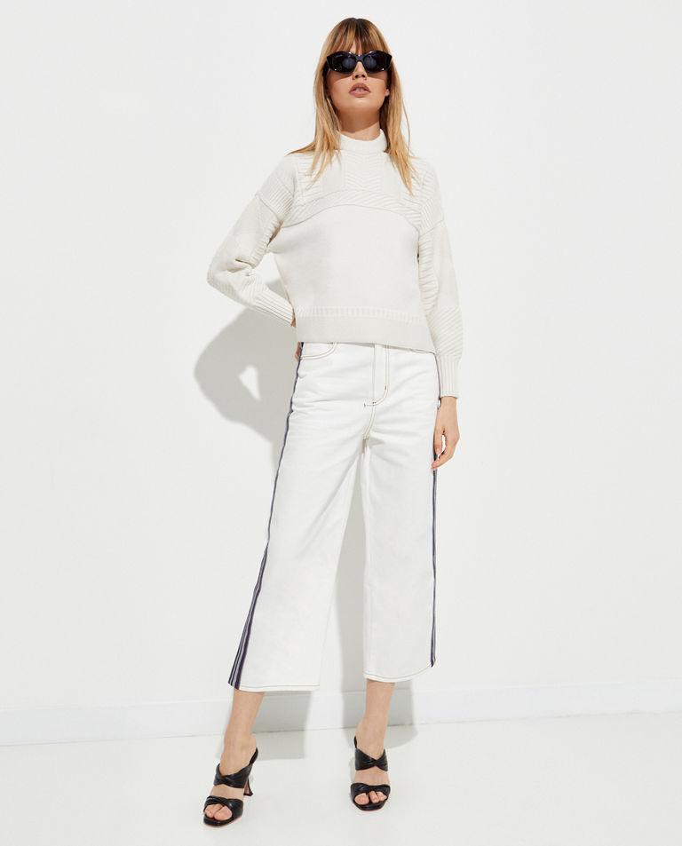 Białe jeansy z lampasami Alexander McQueen