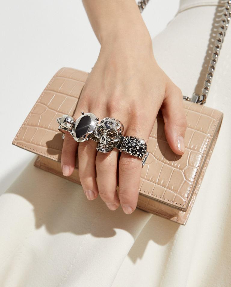 Beżowa torebka mini z pierścieniami Alexander McQueen