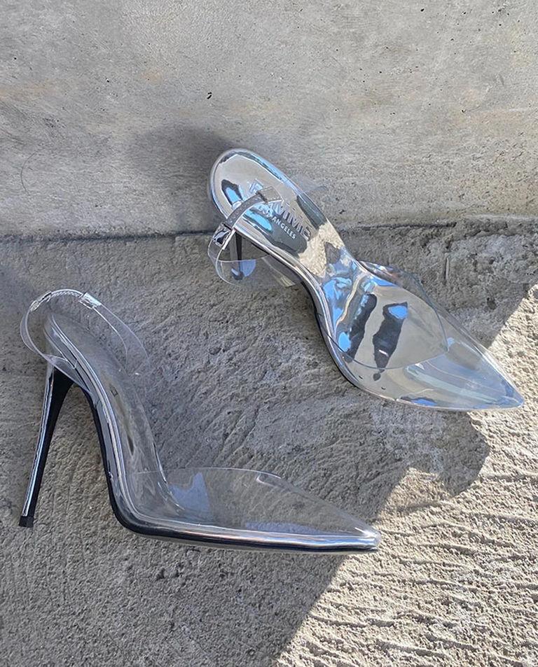 Srebrne szpilki z PVC FEMME Los Angeles