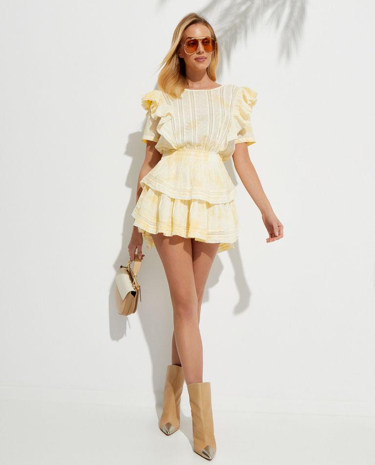 Żółta mini sukienka Natasha LoveShackFancy