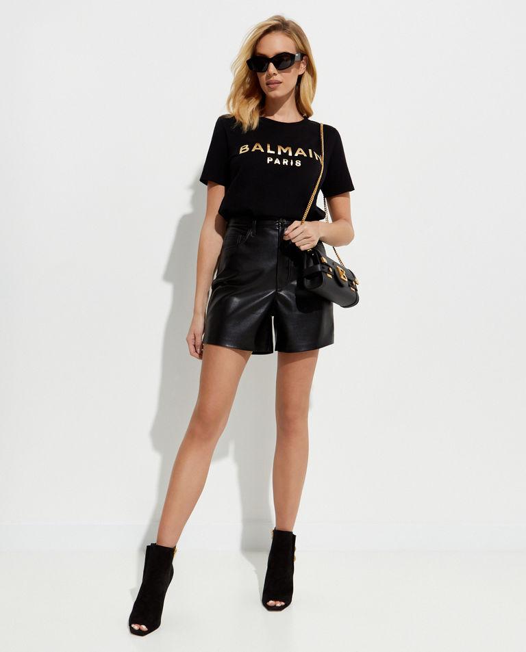 Czarny t-shirt ze złotym logo Balmain