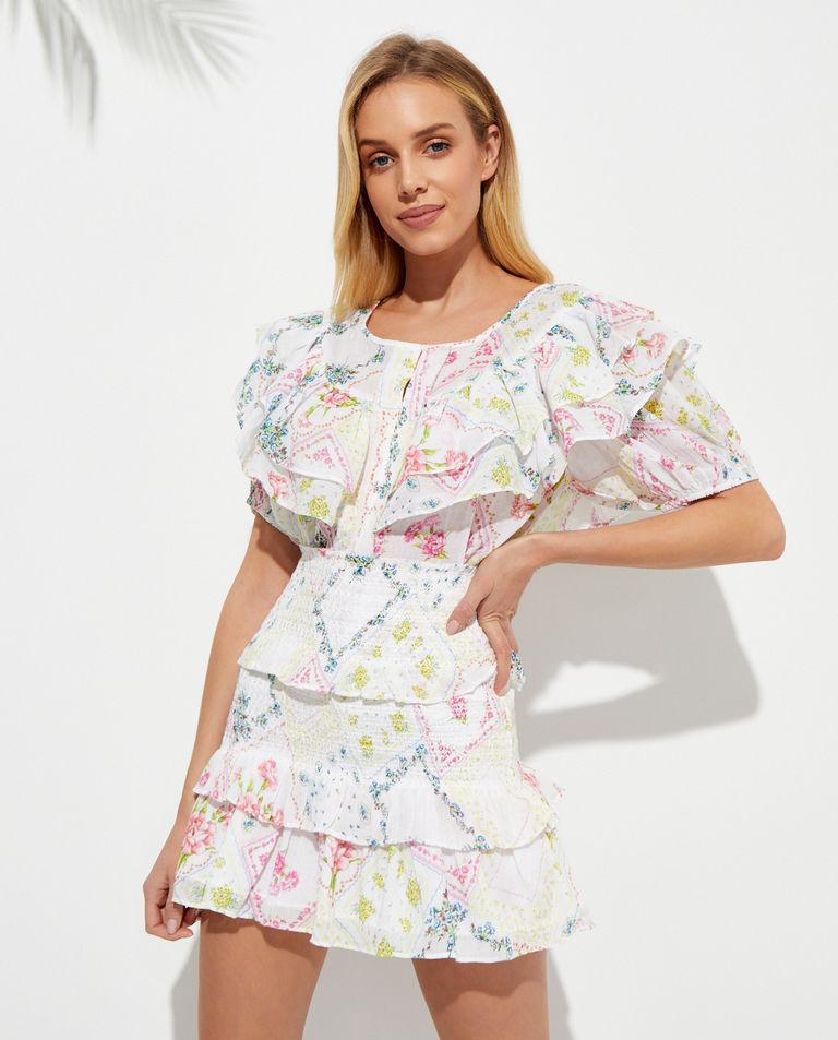 Wzorzysta mini spódnica Sicily LoveShackFancy