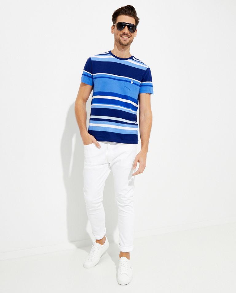 Niebieski t-shirt w paski Custom Fit Polo Ralph Lauren