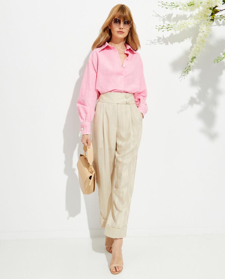 Beżowe spodnie z wysokim stanem Marianna Senchina