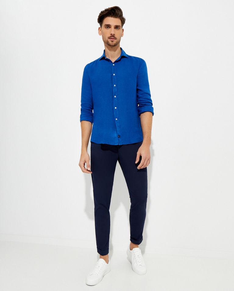 Błękitna koszula z lnu Fay
