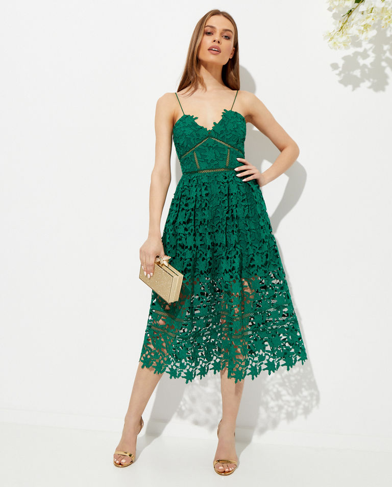 Zielona sukienka midi Azaelea Self Portrait