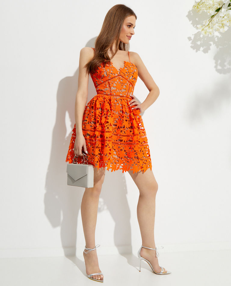 Pomarańczowa sukienka mini Azaelea Self Portrait