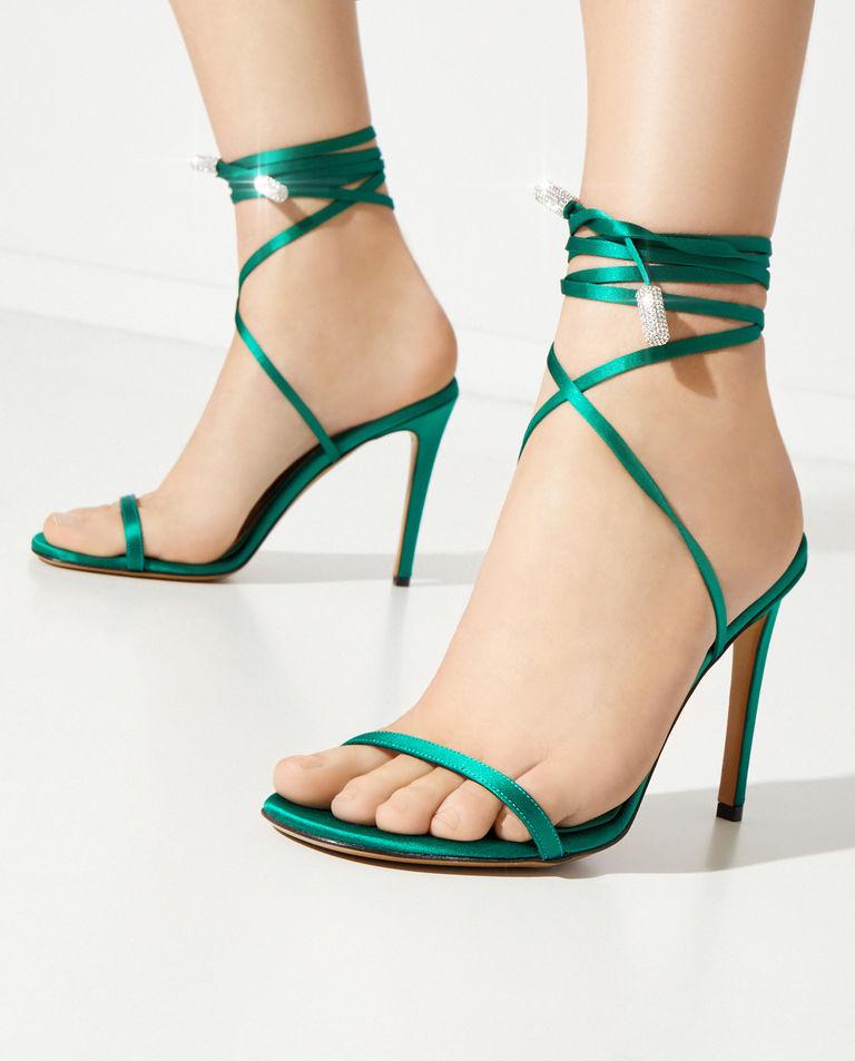 Zielone sandały na szpilce Amina Alexandre Vauthier