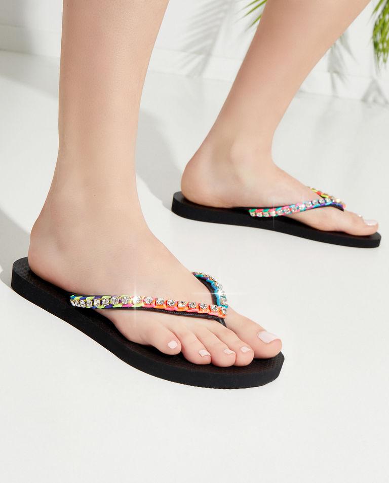 Kolorowe japonki z kryształami Paisley Mystique Shoes