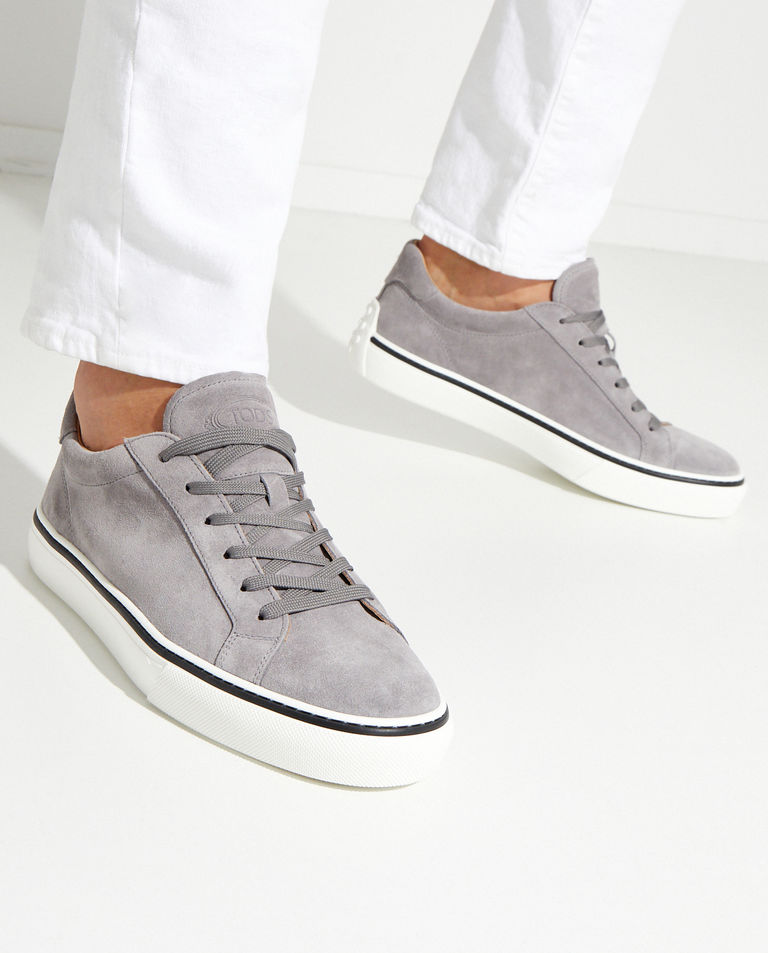 Szare zamszowe sneakersy Tod's