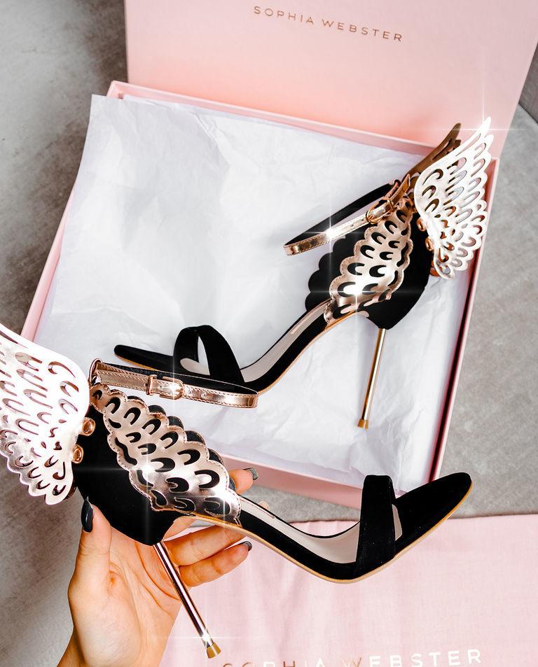 Czarne sandały na szpilce Evangeline Sophia Webster