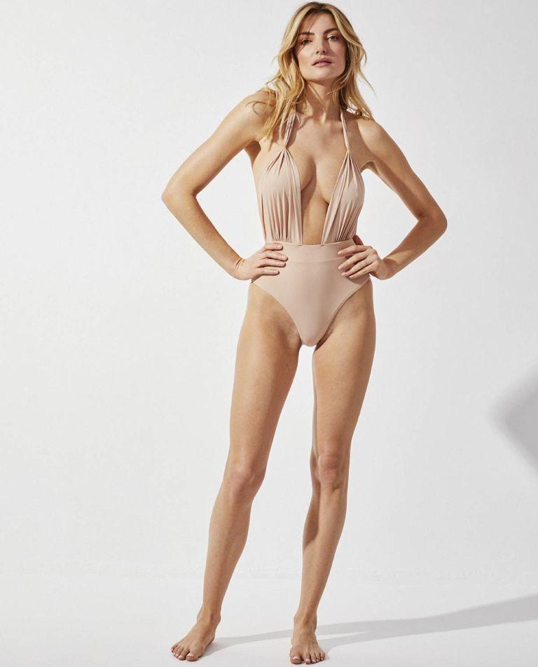 Beżowy jednoczęściowy kostium kąpielowy Summertime Sadness Praia Beachwear