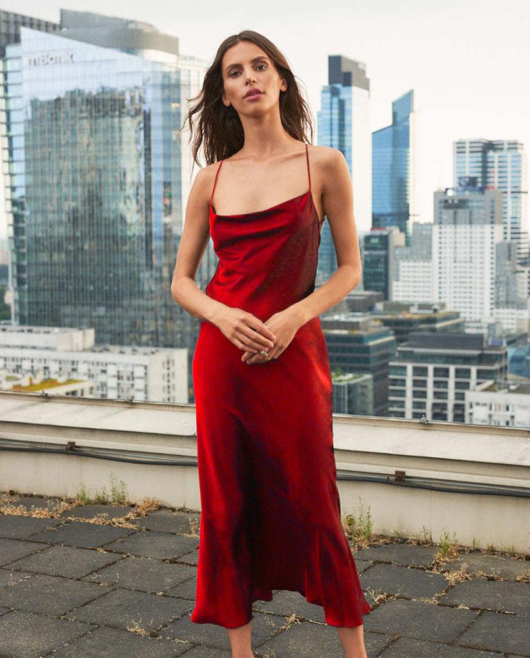 Czerwona sukienka midi paprocki&brzozowski