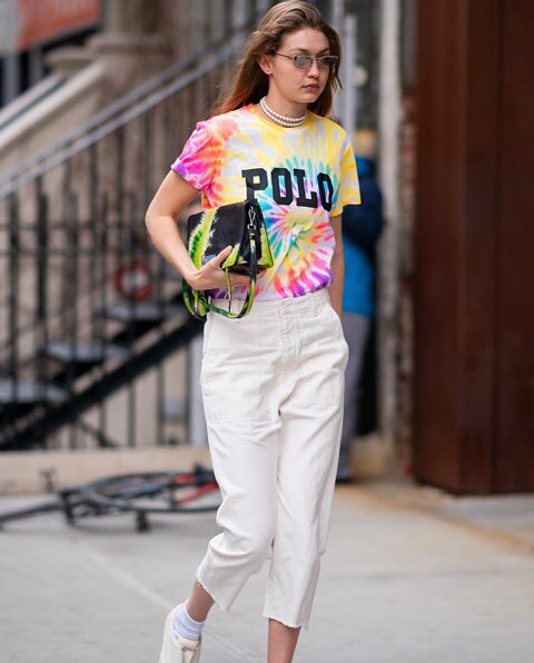 Gigi Hadid w koszulce Polo Ralph Lauren