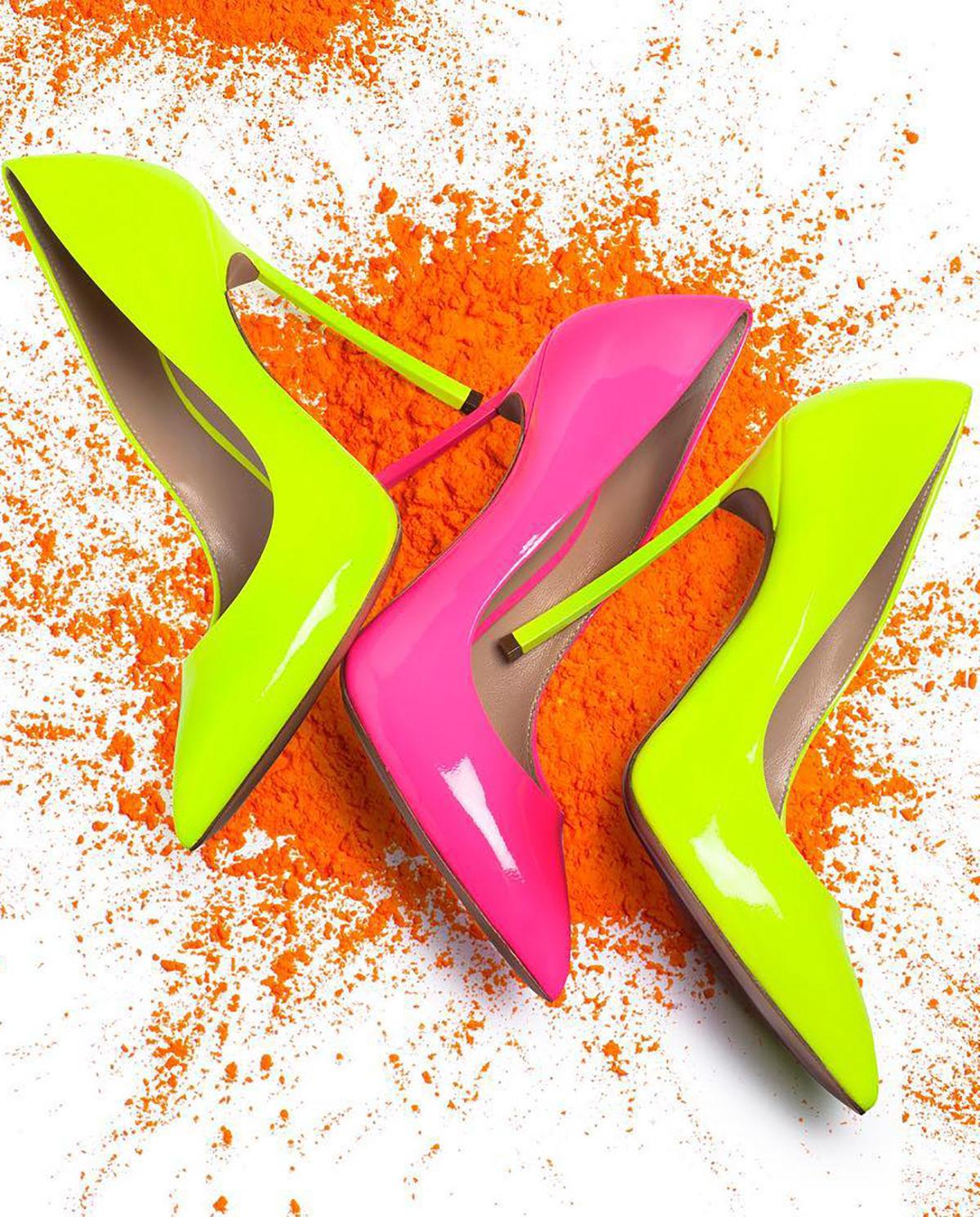 Szpilki Blade Fluo Casadei w kolorach różowym, zielonym
