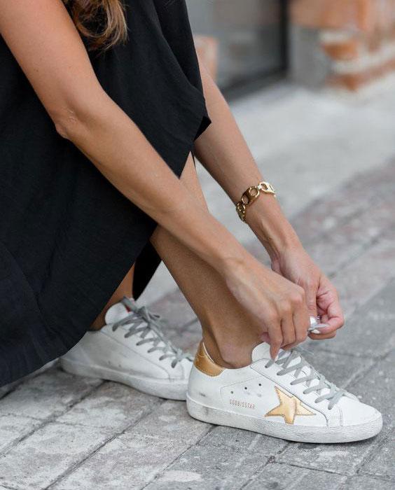 Sneakersy Golden Goose biało złote