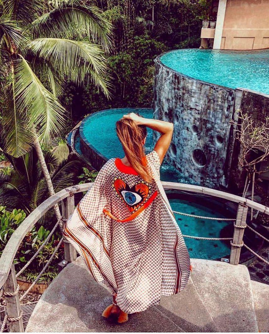 tunika mystique beach dziewczyna palmy