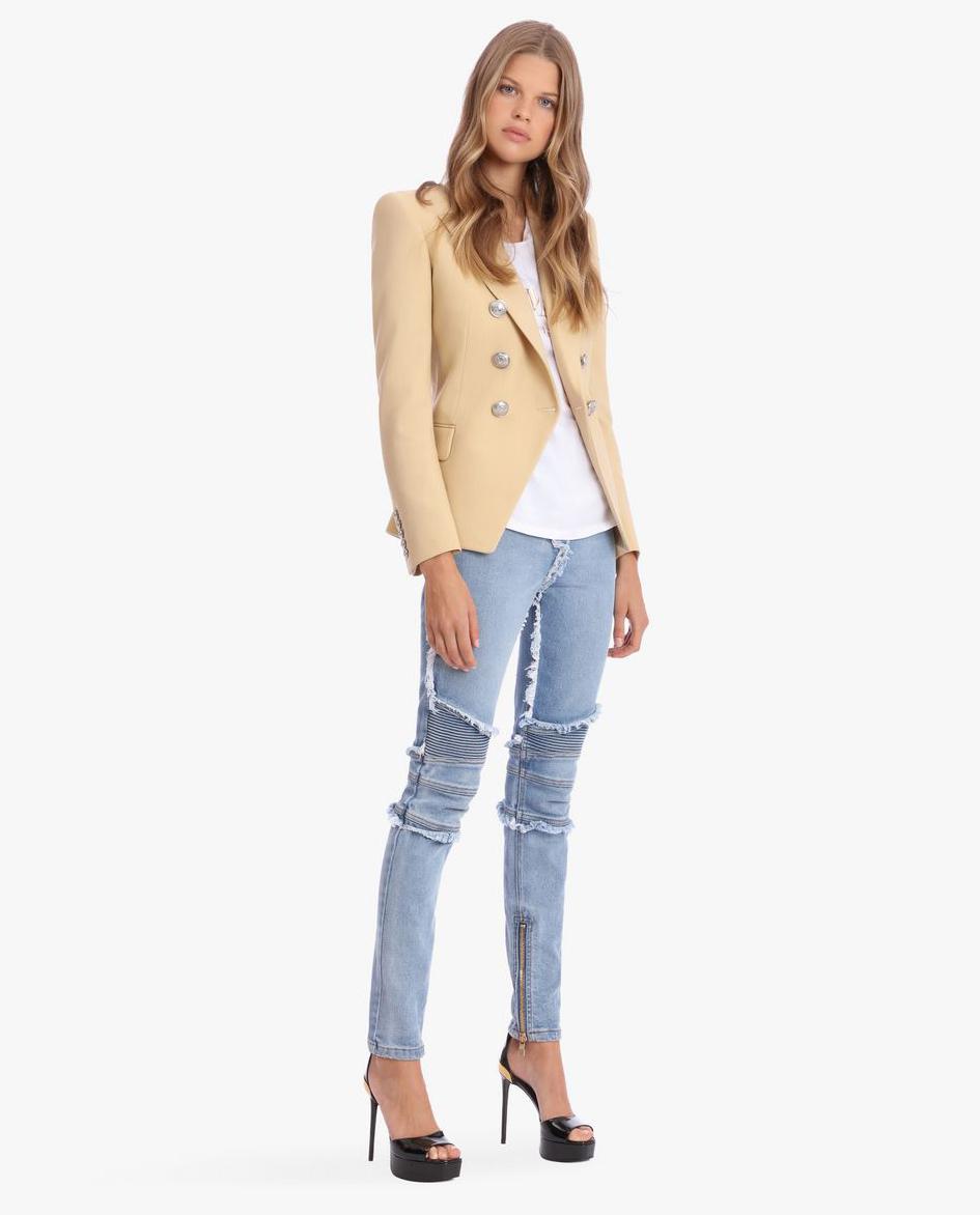 modelka balmain marynarka jeansy