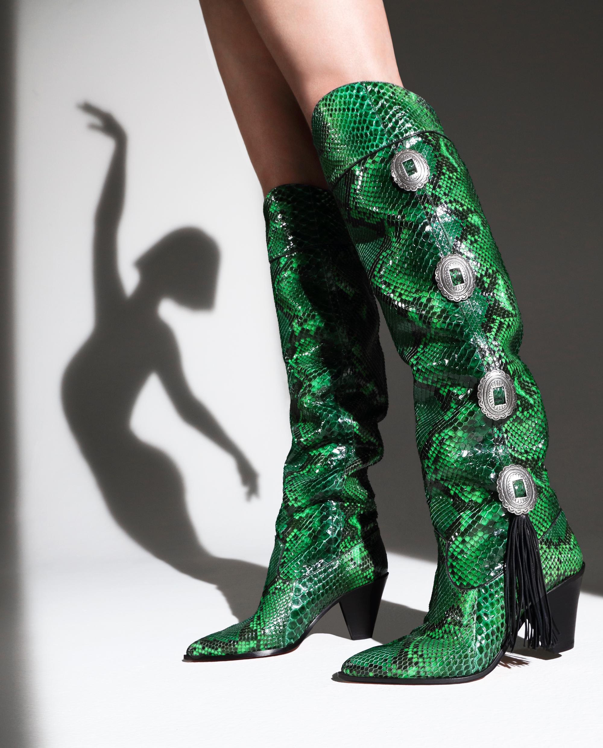 kowbojki aquazzura zielone wężowy print