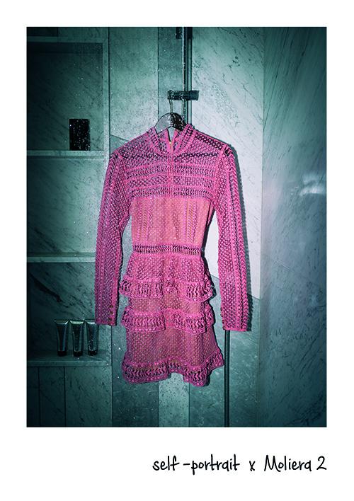 sukienka różowa self portrait prysznic