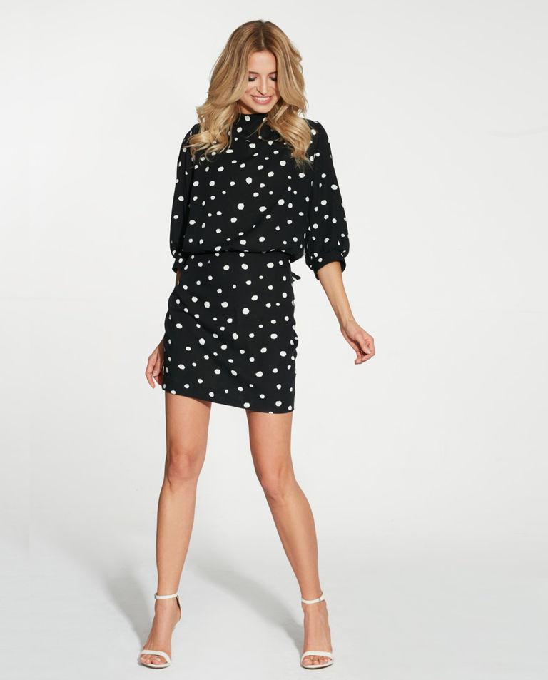czarna sukienka w grochy maare GIGIDRESS BLACK