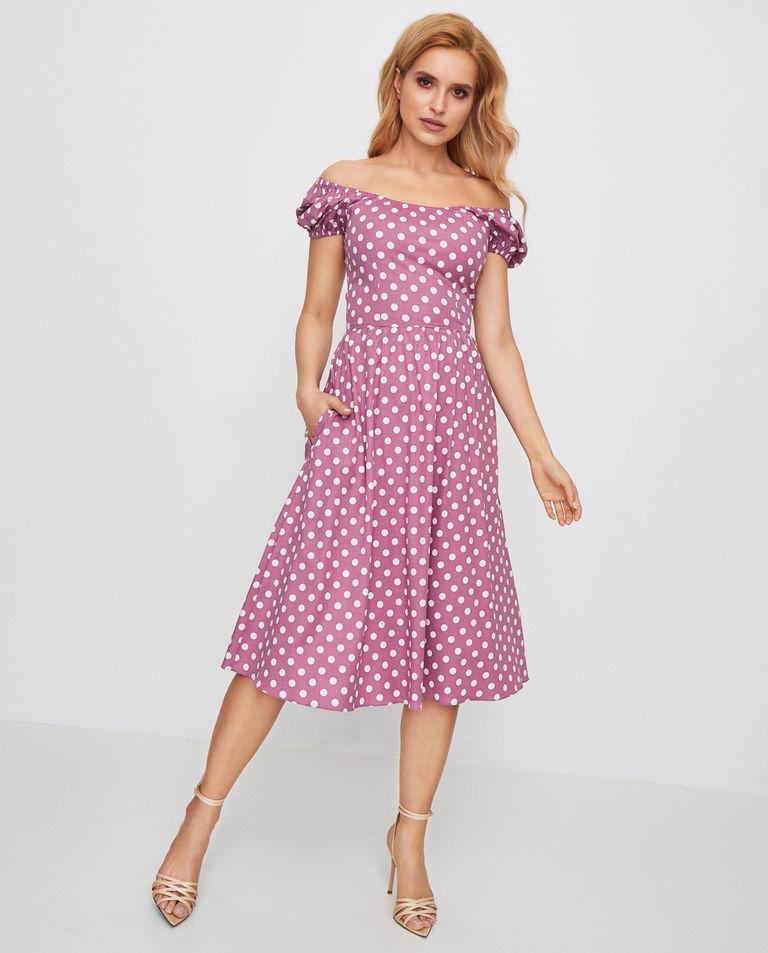 różowa sukienka midi w grochy caroline constas D343PDCR20 MAUVE