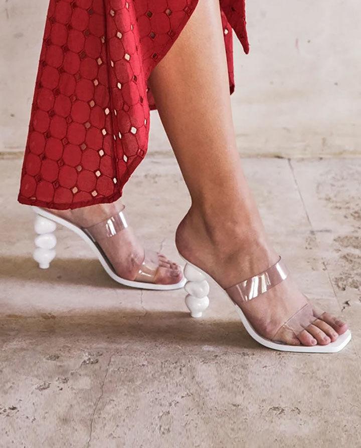 białe sandały na obcasie meta cult gaia G-03VI WHITE