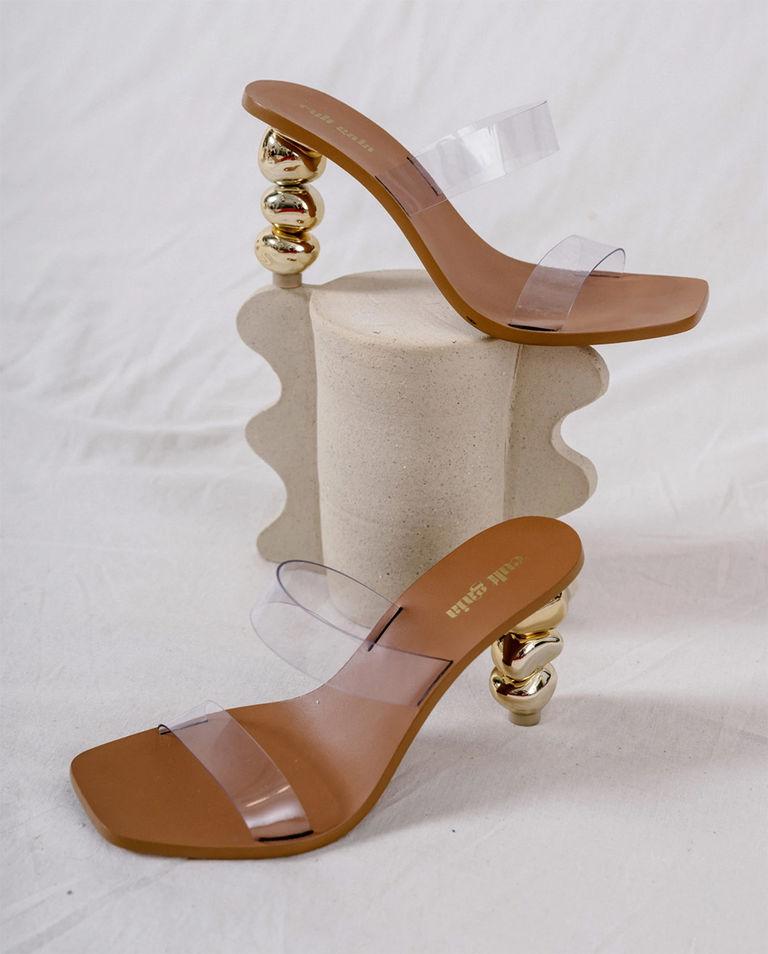 złote sandały na obcasie meta cult gaia G-03VI GOLD