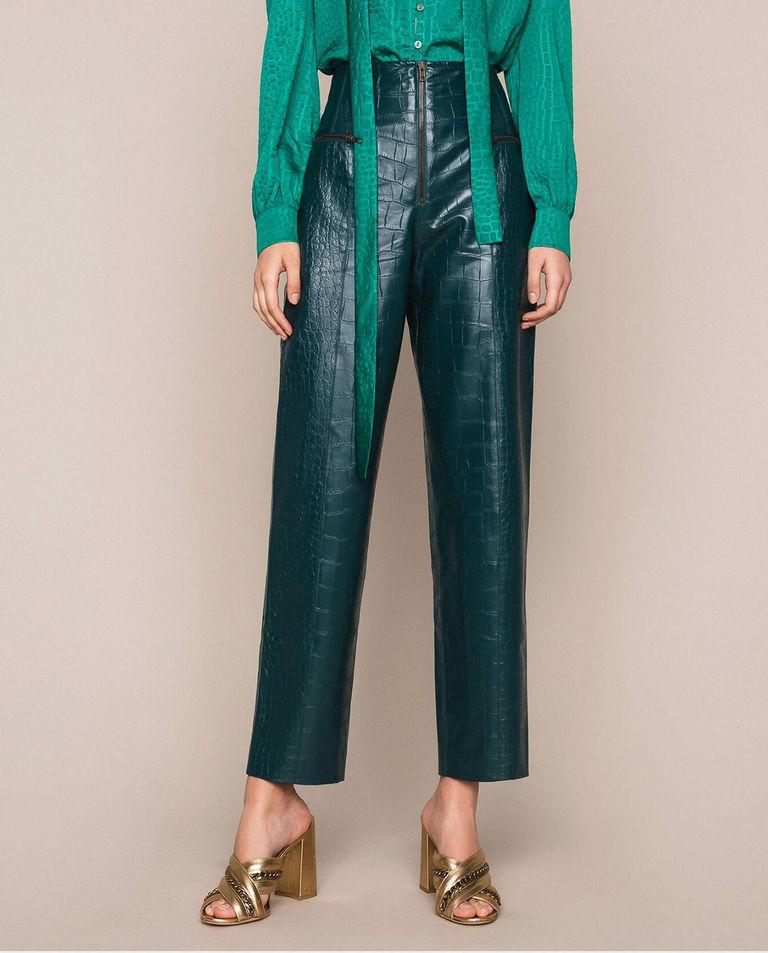 zielone spodnie z motywem aligatora twinset GP 201TP2361 04211
